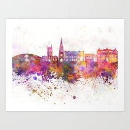 Blackburn skyline in watercolor background Art Print