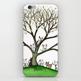 Bull Terriers Whimsical Dogs in Tree iPhone Skin