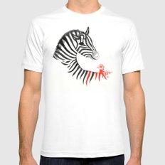 Black Zebra and Orange Bird White MEDIUM Mens Fitted Tee