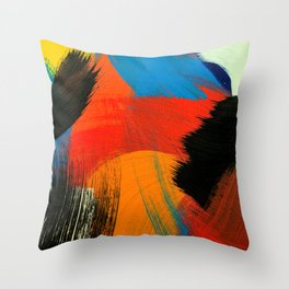 Abstract background. Acrylic colors. Painting on canvas. Handmade, hand drawn. Fine art, artwork, display, texture concept. Modern, contemporary art. Throw Pillow