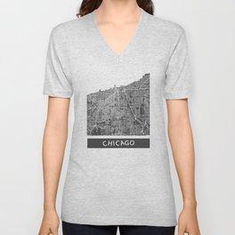 Chicago map orange Unisex V-Neck