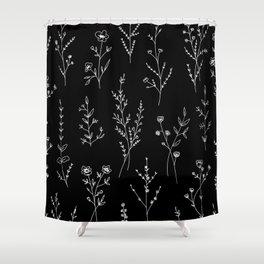 New Black Wildflowers Shower Curtain