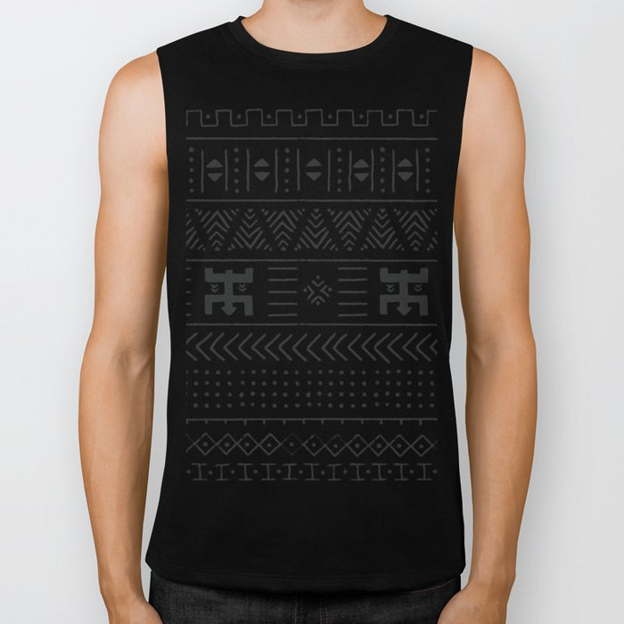 Black and white tribal ethnic pattern with geometric elements, traditional African mud cloth, tribal Biker Tank