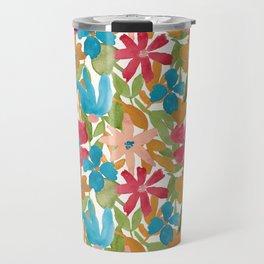 Bright Layered Watercolor Floral Travel Mug
