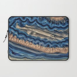 Blue agate with warm crystals Laptop Sleeve