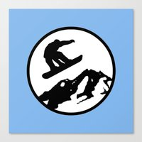 snowboarding Canvas Prints featuring snowboarding 1 by Paul Simms