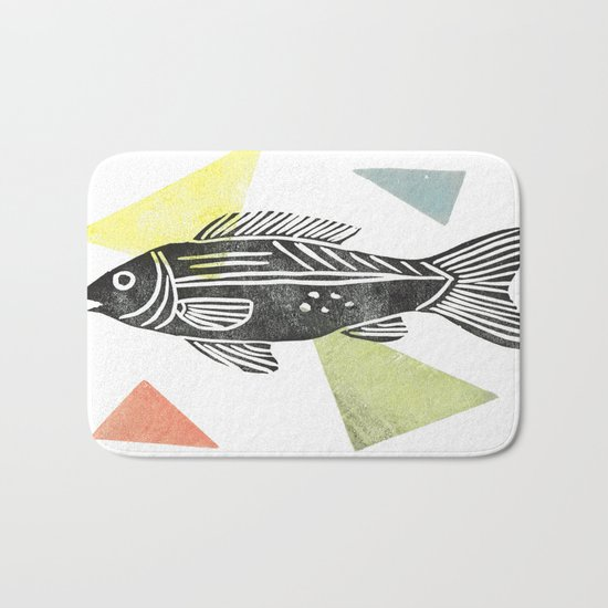 fish stamp III Bath Mat