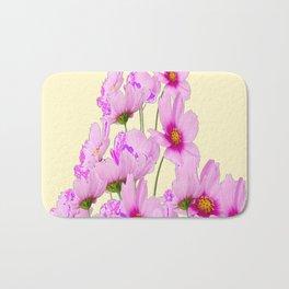 PINK COSMOS GARDEN FLOWERS ON CREAM COLOR Bath Mat