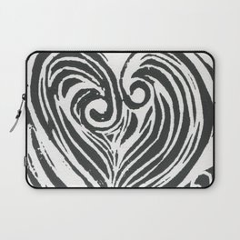 Block Print Heart -Black and White Laptop Sleeve