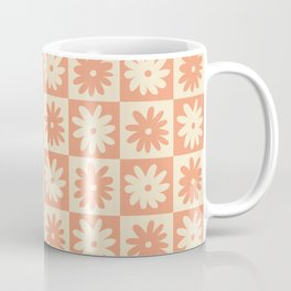 Salmon And Off White Checkered Flower Pattern Coffee Mug