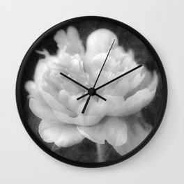 Peony in Black and White Wall Clock