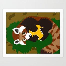 Red Panda Yellow Ball Art Print