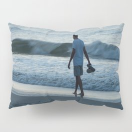 Man Walking on Beach Pillow Sham