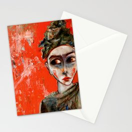 Llorona sobre fondo rojo Stationery Cards