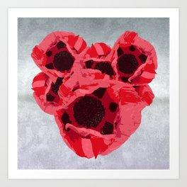 In memoriam - Heart of poppies Art Print