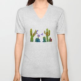 Cacti and a hummingbird Unisex V-Neck