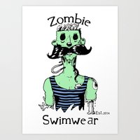 Zombie Swimwear Vintage Style Art Print