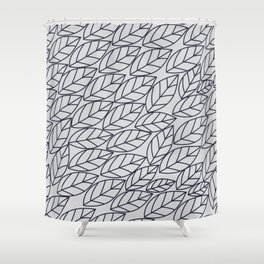 Doodle Leaves Light Grey and Navy Shower Curtain