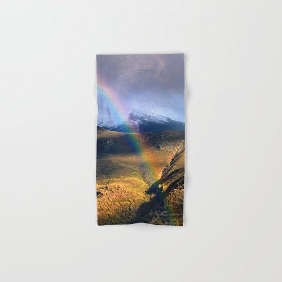 """Rainbow through the snow mountains"". Into the storm. Hand & Bath Towel"