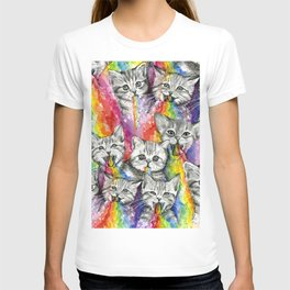 Kittens Puking Rainbows Pattern T-shirt