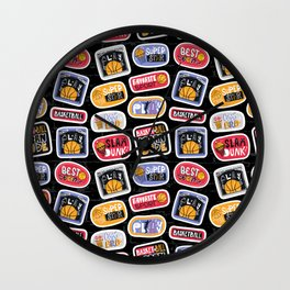 Basketball Pattern with Stickers Wall Clock