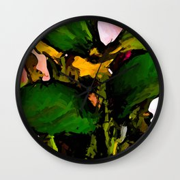 Green Leaves and Yellow Flowers with a Pink Wall Wall Clock