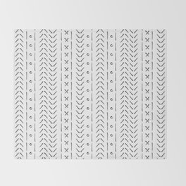 White and gray boho pattern Throw Blanket