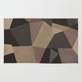 Brown pattern . Leather patches . Rug