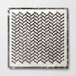 Herringbone in black and white Metal Print