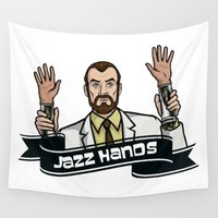 jazz Wall Tapestries featuring Jazz Hands! by ernieandbert