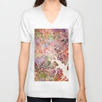 baltimore V-neck T-shirts featuring Baltimore map by MapMapMaps.Watercolors