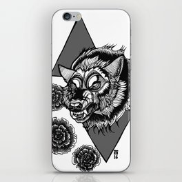 Wolf's Head and Flowers iPhone Skin