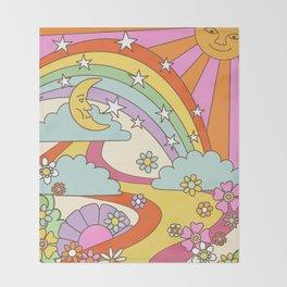 retro hippie boho print  Throw Blanket
