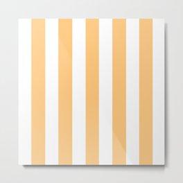 Topaz orange - solid color - white vertical lines pattern Metal Print