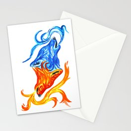 Fire and Water Wolves Stationery Cards