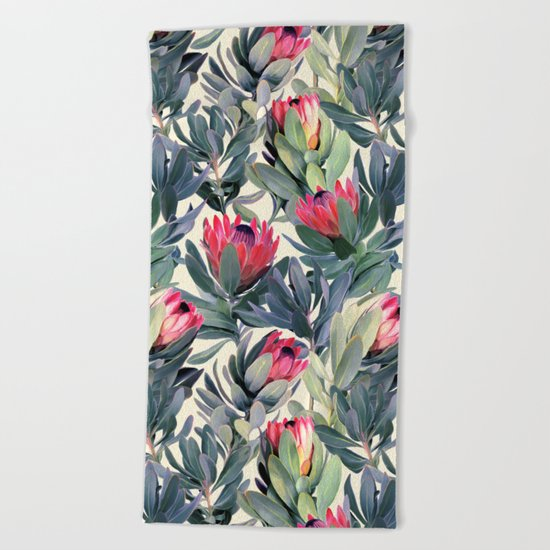 Painted Protea Pattern Beach Towel
