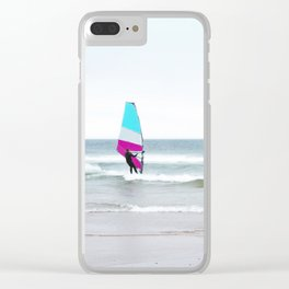 Windsurfer with Aqua and Magenta Clear iPhone Case