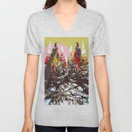 """""""Trees, Mountains, Flowers, Sun Vector Illustration"""" Unisex V-Neck"""