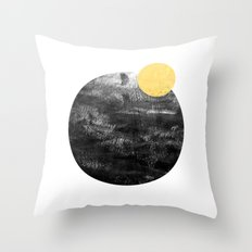 Ripley - abstract marble texture india ink painting minimal white and black with gold canvas art Throw Pillow