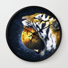 Tiger Eating A Planet Wall Clock