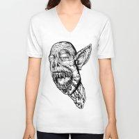 vampire V-neck T-shirts featuring VAMPIRE  by B. STIEGLER