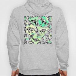 90's Dinosaur Skeleton Neon Pattern Hoody