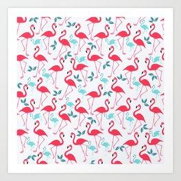 Summer trendy pink teal tropical flamingo floral pattern Art Print