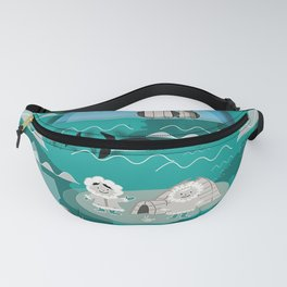 Arctic animals teal Fanny Pack