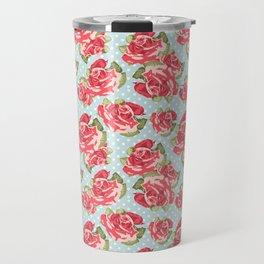 English Roses Blue Polka Dots Travel Mug
