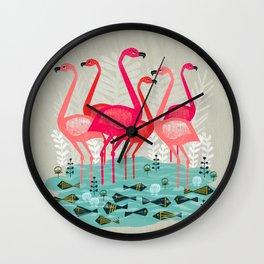 Flamingos by Andrea Lauren  Wall Clock