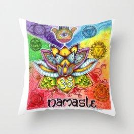 namaste: 7 chakras Throw Pillow