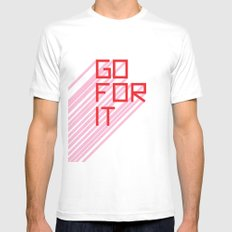 Go For It Mens Fitted Tee LARGE White