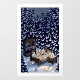 Sleepy Snow Rabbits Art Print