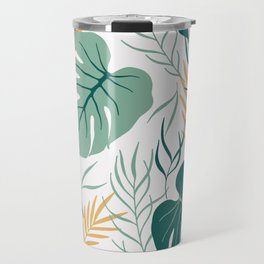 Tropical Pattern Green Gold Travel Mug